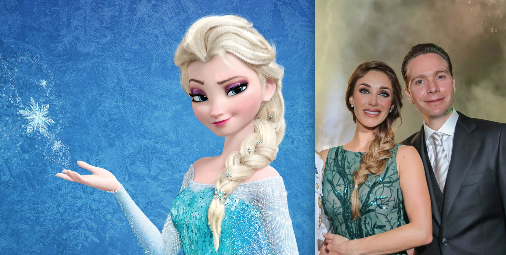 La trenza es igual y los aretes que lleva la cantante son iguales a las aplicaciones que la princesa de Frozen lleva en el pelo.